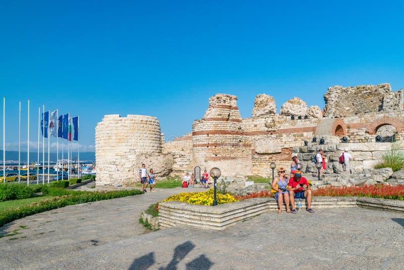 Nessebar, Bulgaria - 2 Sep 2018: Tourists at the Nesebar ancient city ruins, one of the major seaside resorts on the Bulgarian stock image