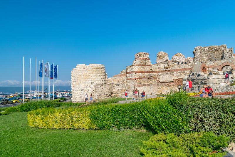 Nessebar, Bulgaria - 2 Sep 2018: Tourists at the Nesebar ancient city ruins, one of the major seaside resorts on the Bulgarian royalty free stock photography