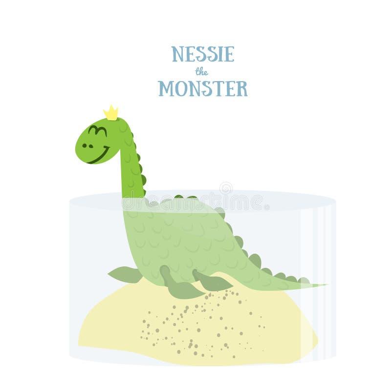 Nessie monstret Plan vektorillustration Fjord Ness Monster som isoleras på vit bakgrund royaltyfri illustrationer