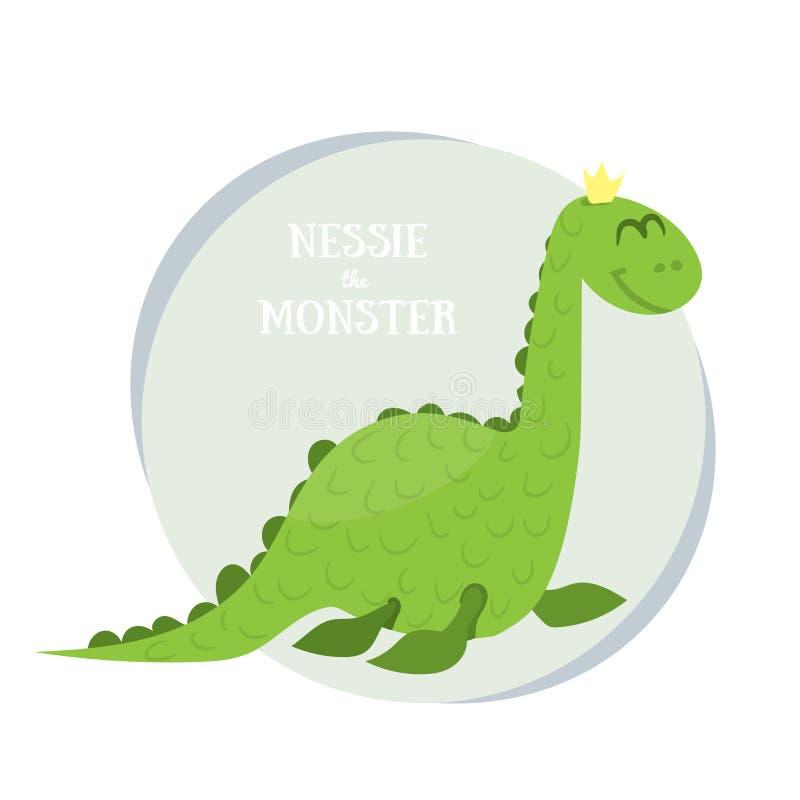 Nessie potwór Płaska wektorowa ilustracja Loch Ness potwór na białym tle ilustracja wektor