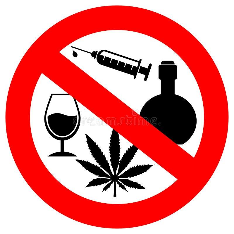 Nessun alcool e segno delle droghe illustrazione di stock