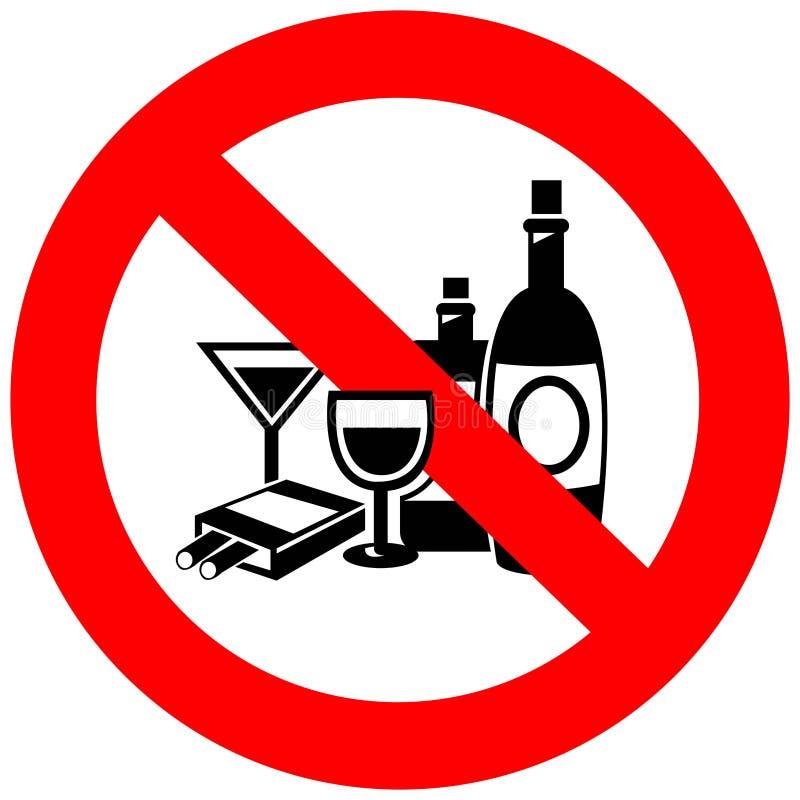 Nessun alcool e segno di fumo illustrazione vettoriale