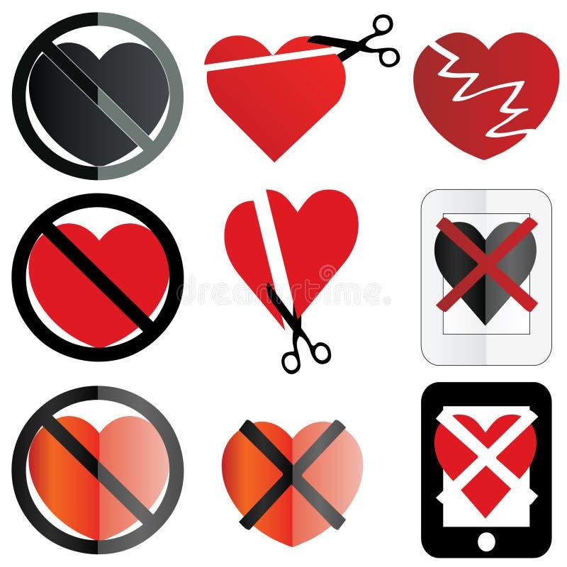 Nessun amore o anti biglietto di S. Valentino illustrazione vettoriale