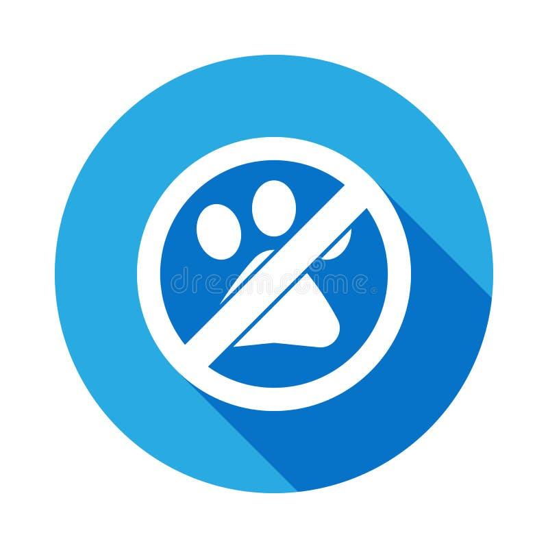 Nessun animale, icona piana proibita del segno con ombra lunga illustrazione vettoriale