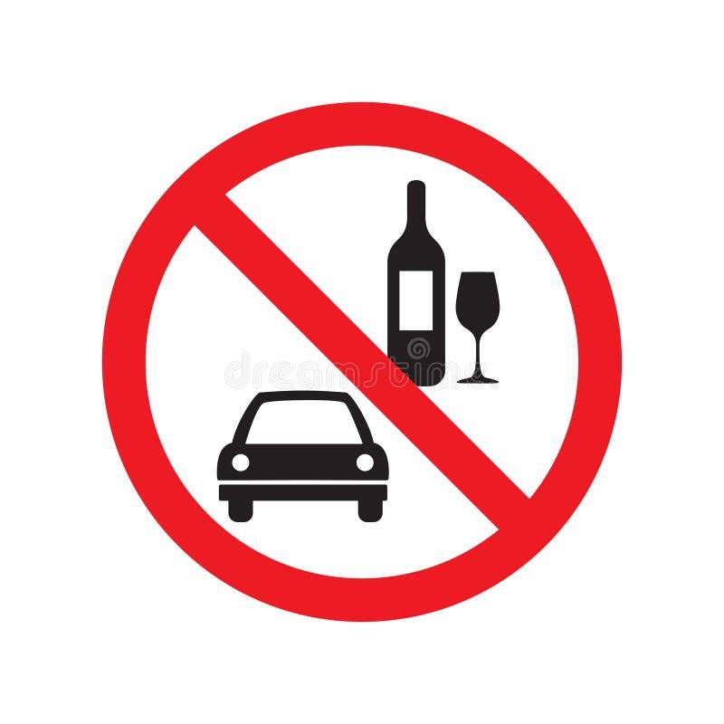 Nessun bevanda ed azionamento vector il segno isolato su fondo bianco royalty illustrazione gratis
