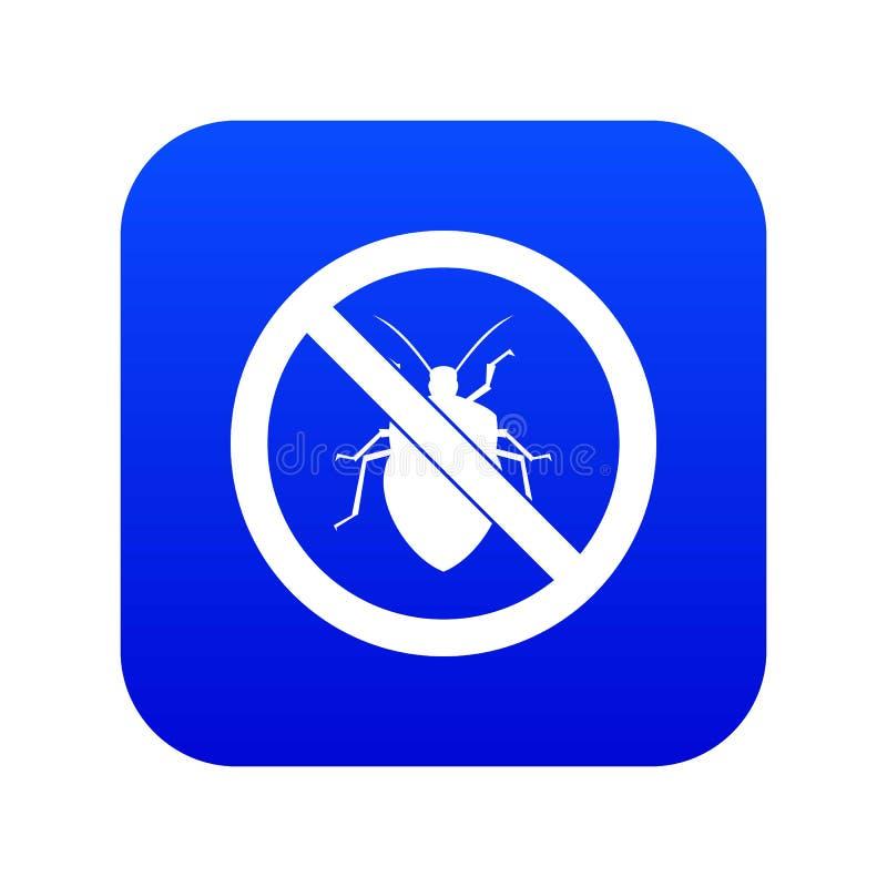 Nessun blu digitale dell'icona del segno dell'insetto illustrazione di stock