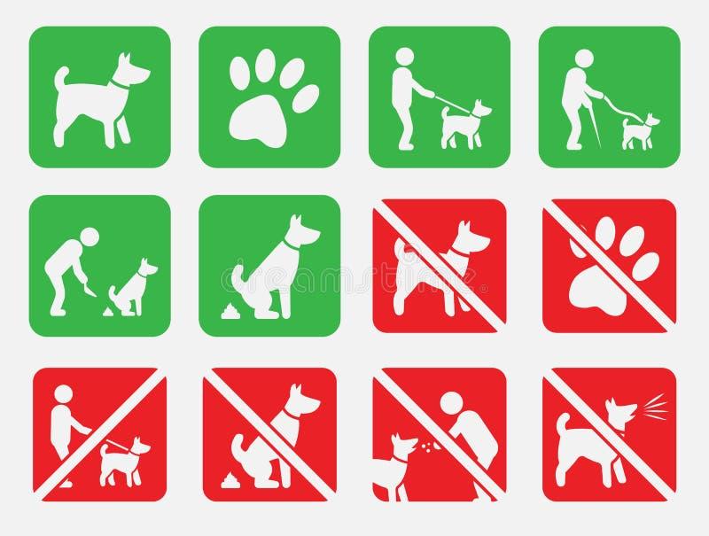 Nessun cani e cane hanno permesso i segni, nessuno insudiciamento illustrazione vettoriale