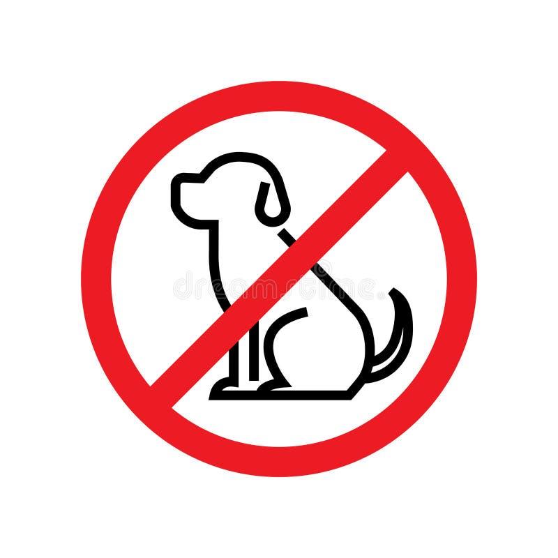 Nessun cani permessi Segno di proibizione del cane illustrazione di stock