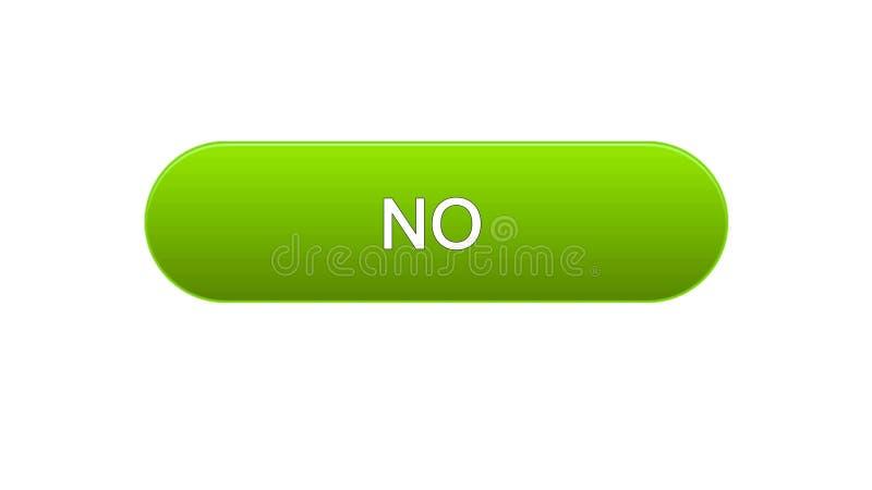 Nessun colore verde del bottone dell'interfaccia di web, modulo di iscrizione online, servizio di Internet royalty illustrazione gratis