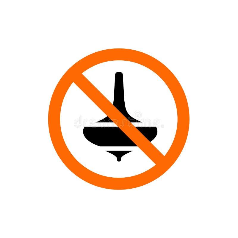 Nessun gioco di gioco, segno severo dei giocattoli, simbolo di proibizione illustrazione di stock