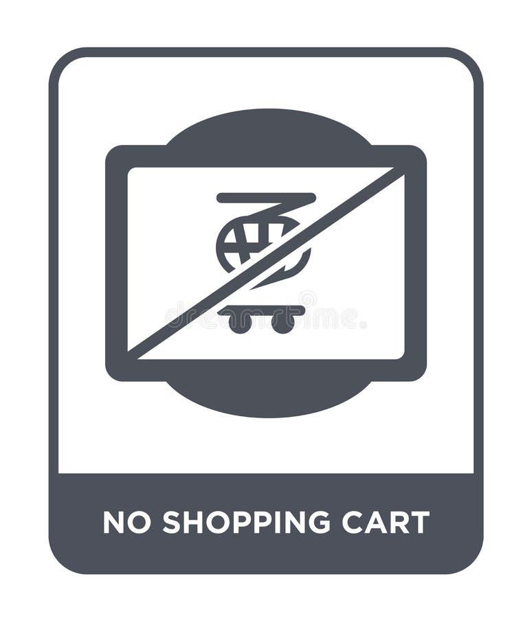 nessun'icona del carrello nello stile d'avanguardia di progettazione nessun'icona del carrello isolata su fondo bianco nessun'ico illustrazione di stock