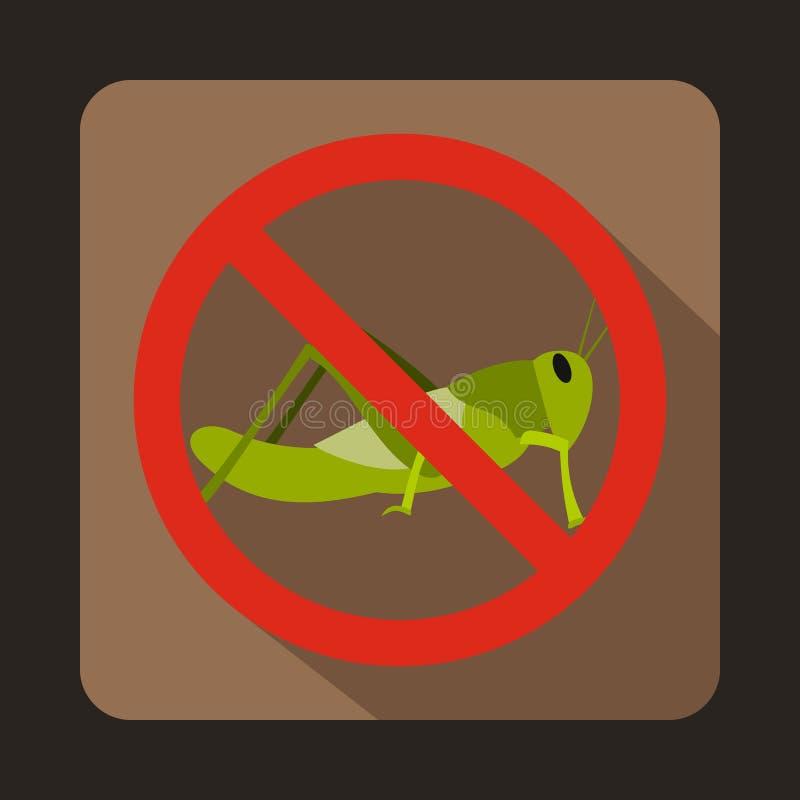 Nessun'icona del segno della locusta, stile piano illustrazione di stock