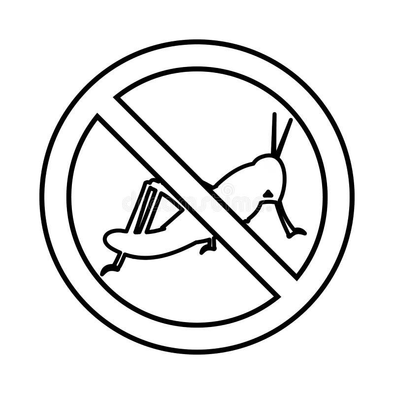 Nessun'icona del segno della locusta, stile del profilo illustrazione vettoriale