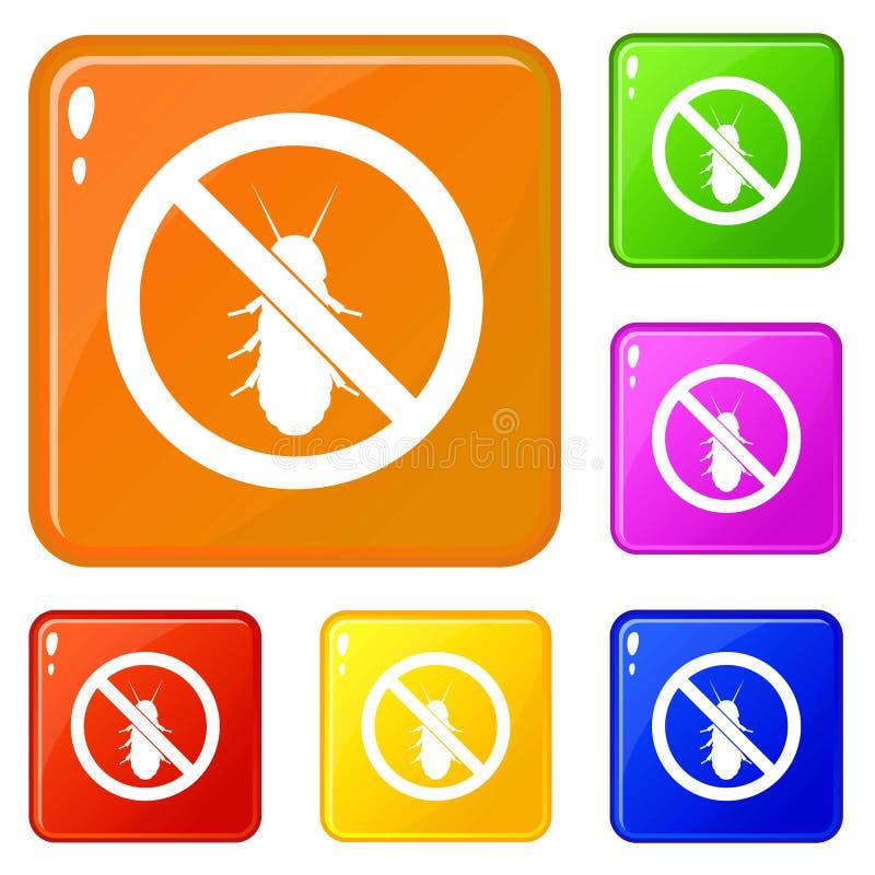 Nessun'icona del segno della termite ha fissato il colore di vettore illustrazione di stock