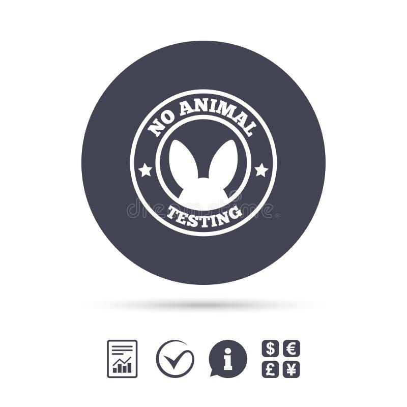 Nessun'icona del segno di prova sugli animali Simbolo non provato illustrazione di stock