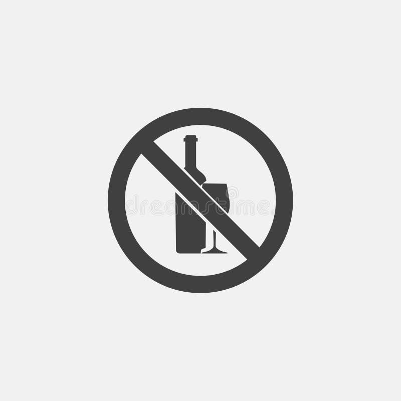 Nessun'icona dell'alcool illustrazione di stock