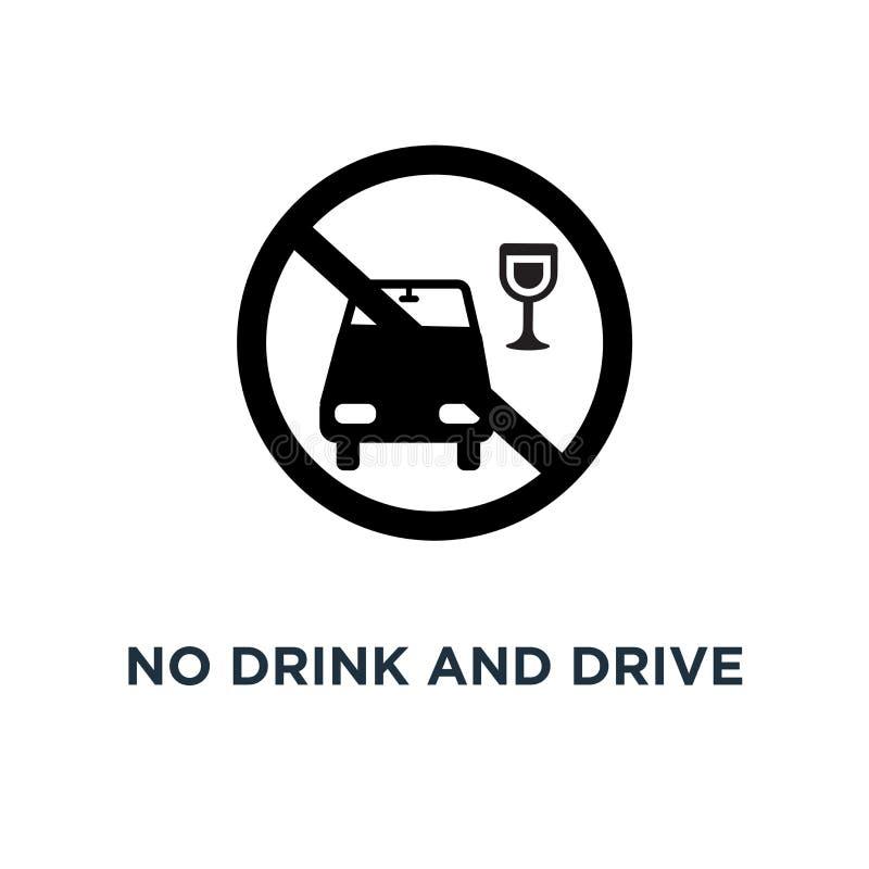 Nessun'icona dell'azionamento e della bevanda Illustrazione semplice dell'elemento Nessuna bevanda a illustrazione vettoriale