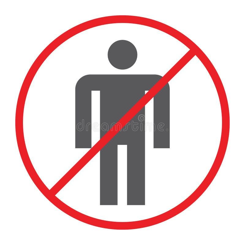 Nessun'icona della gente, proibita e divieto, nessun segno umano, grafica vettoriale, un modello solido su un fondo bianco illustrazione vettoriale