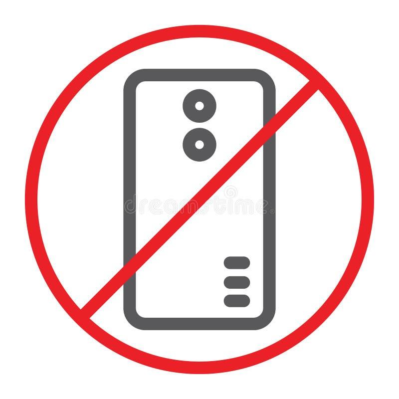 Nessun'icona della linea telefonica, proibita e divieto, nessun segnale di chiamata, grafica vettoriale, un modello lineare su un royalty illustrazione gratis