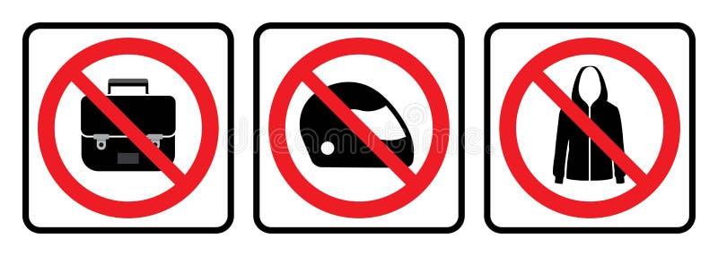 Nessun'icona delle borse, nessun'icona del casco, nessun segno del rivestimento royalty illustrazione gratis