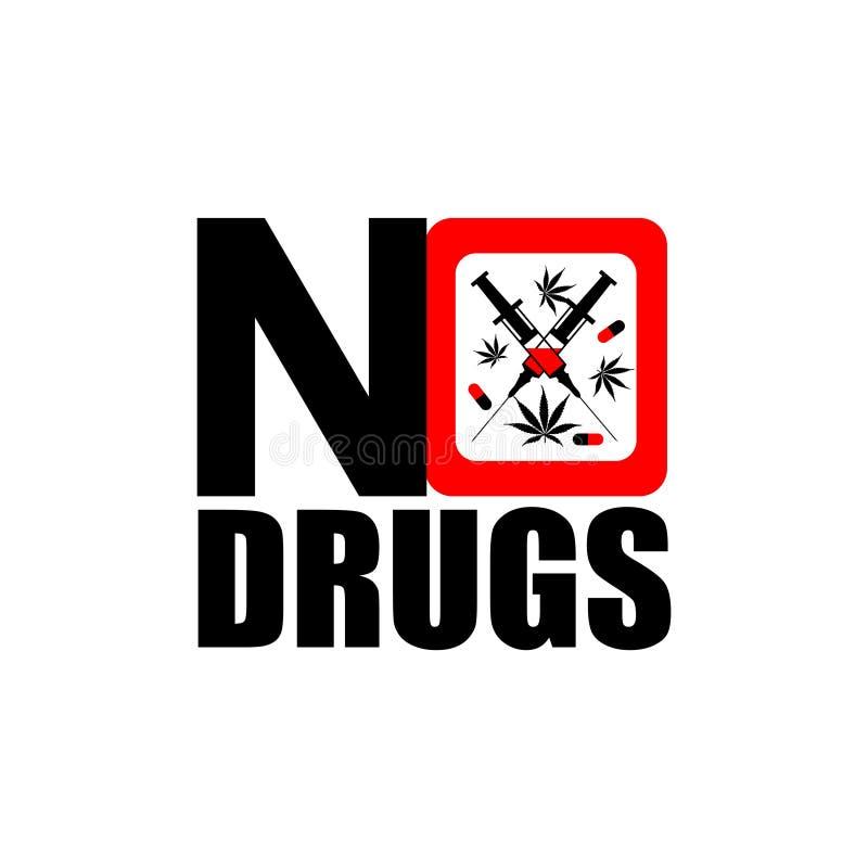 Nessun'icona delle droghe illustrazione di stock