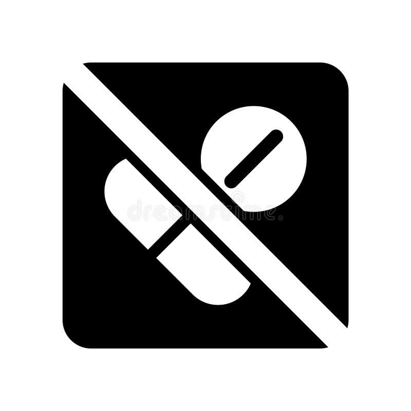 Nessun'icona delle droghe isolata su fondo bianco, nessun droghe firma royalty illustrazione gratis