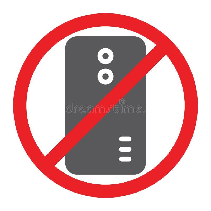 Nessun'icona di glifo del telefono, proibita e divieto, nessun segnale di chiamata, grafica vettoriale, un modello solido su un f illustrazione vettoriale
