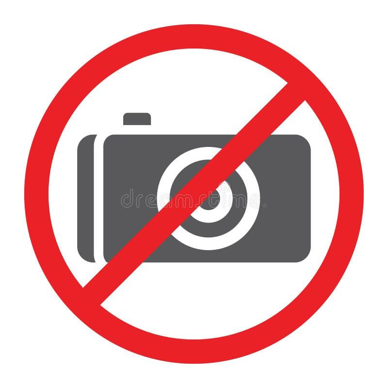 Nessun'icona di glifo della foto, proibita e divieto, nessun segno della macchina fotografica, grafica vettoriale, un modello sol illustrazione di stock