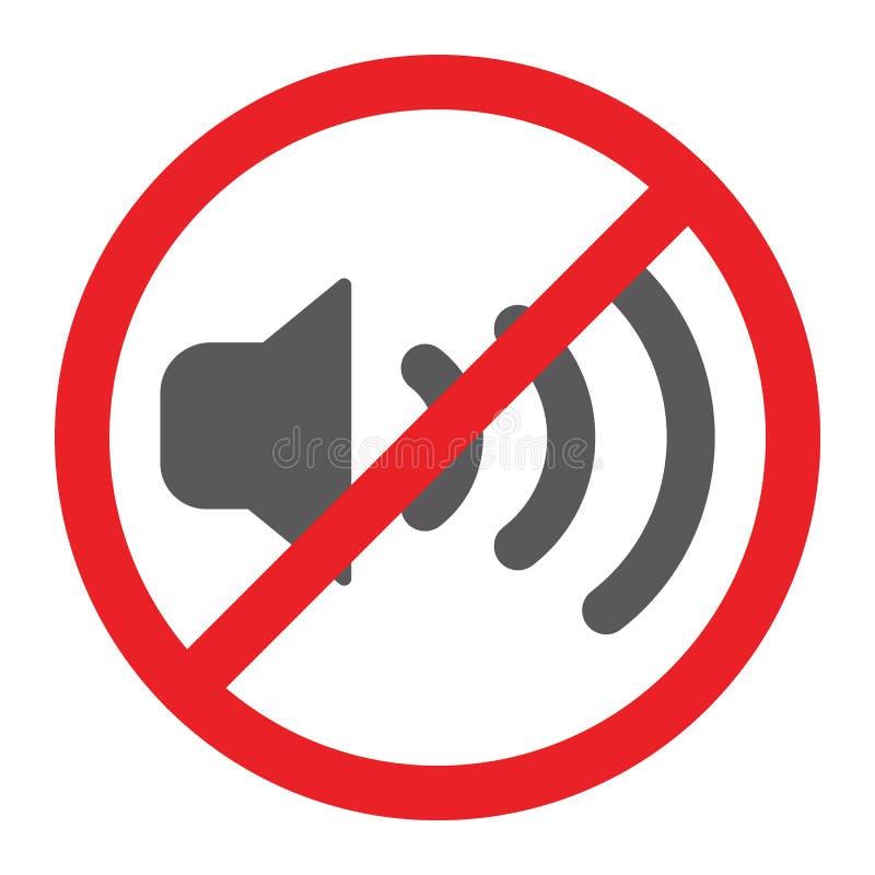 Nessun'icona sana di glifo, proibita e silenzio, nessun segno di rumore, grafica vettoriale, un modello solido su un fondo bianco illustrazione di stock