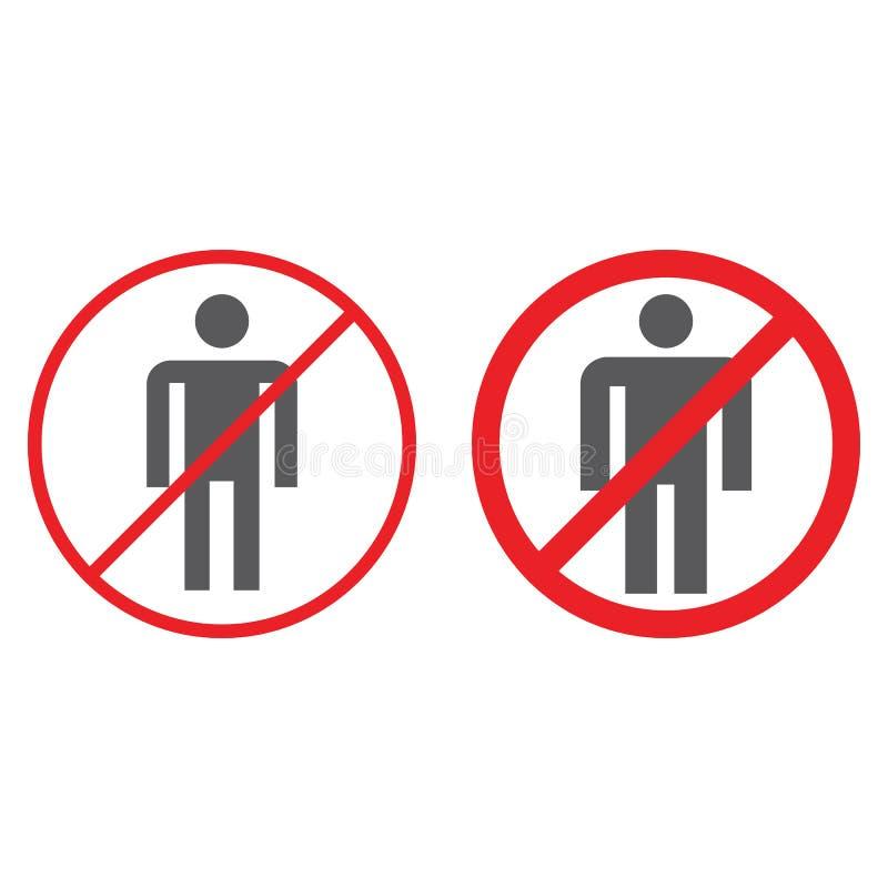 Nessun icone di glifo della gente, proibite e divieto, nessun segno umano, grafica vettoriale, un modello solido su un fondo bian illustrazione di stock