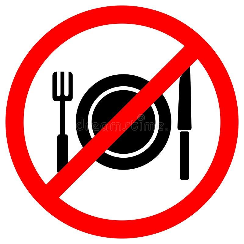 Nessun isolato del segno di simbolo di cibo su fondo bianco, illustrazione ENV di vettore 10 royalty illustrazione gratis