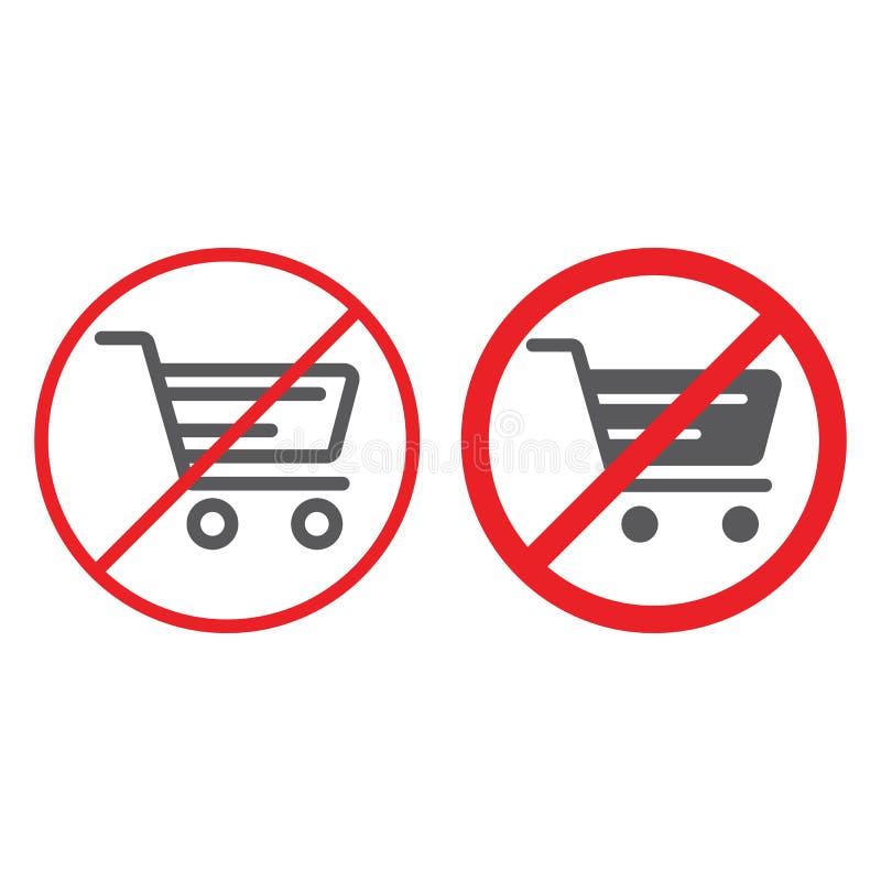 Nessun linea del carrello ed icona di glifo, proibita e severa, nessun segno di compera del carrello, grafica vettoriale, un line illustrazione vettoriale