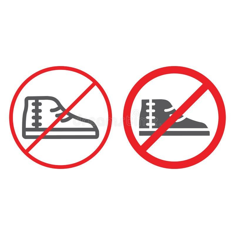 Nessun linea delle calzature ed icona di glifo, proibita e severa, nessun scarpe firmano, grafica vettoriale, un modello lineare  royalty illustrazione gratis