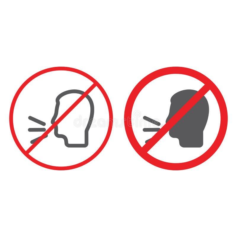 Nessun linea ed icona di conversazione di glifo, proibita ed avvertente, non parlano il segno, la grafica vettoriale, un modello  illustrazione vettoriale