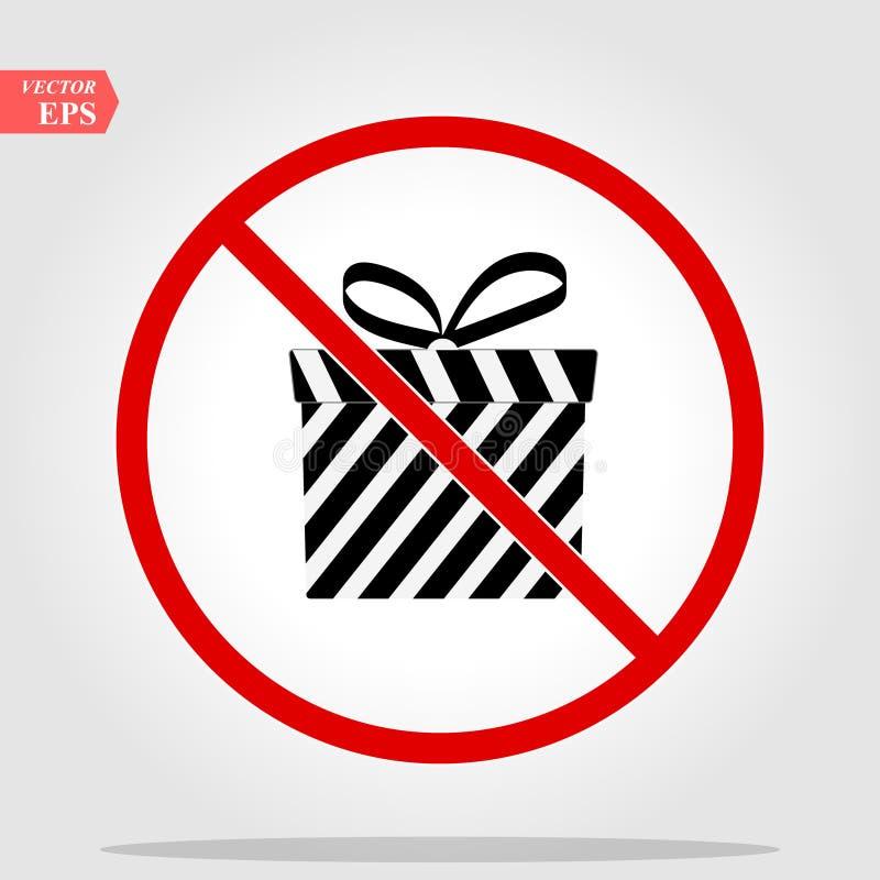 Nessun o fermata Contenitore di regalo con l'icona di percentuale Segno di vendita o del presente Simbolo di acquisto di complean illustrazione di stock