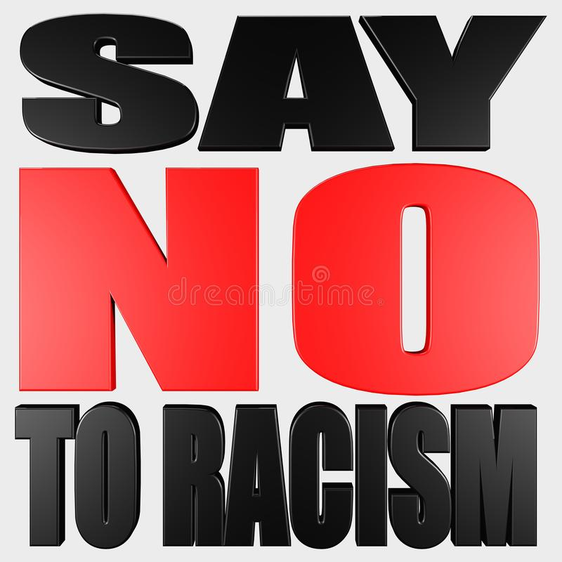 Nessun rosso di razzismo e testo nero 3d rendere illustrazione vettoriale