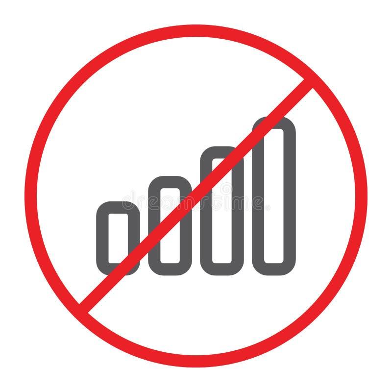 Nessun segnale icona, proibita e divieto, nessun segno del collegamento, grafica vettoriale, un modello lineare su un fondo bianc illustrazione vettoriale