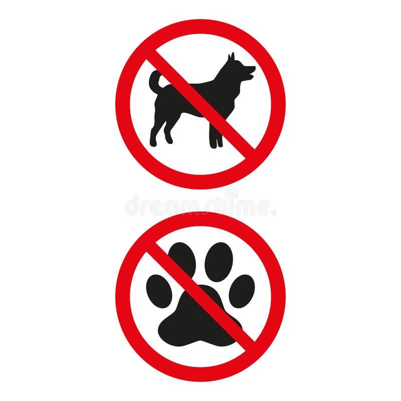 Nessun segno dei cani su fondo bianco illustrazione vettoriale
