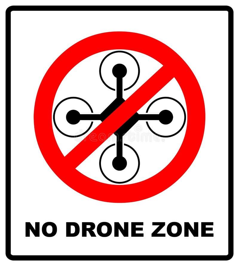 Nessun segno dei fuchi della mosca Nessuna zona di mosca, segno del fuco isolato su fondo bianco, illustrazione di vettore simbol illustrazione vettoriale