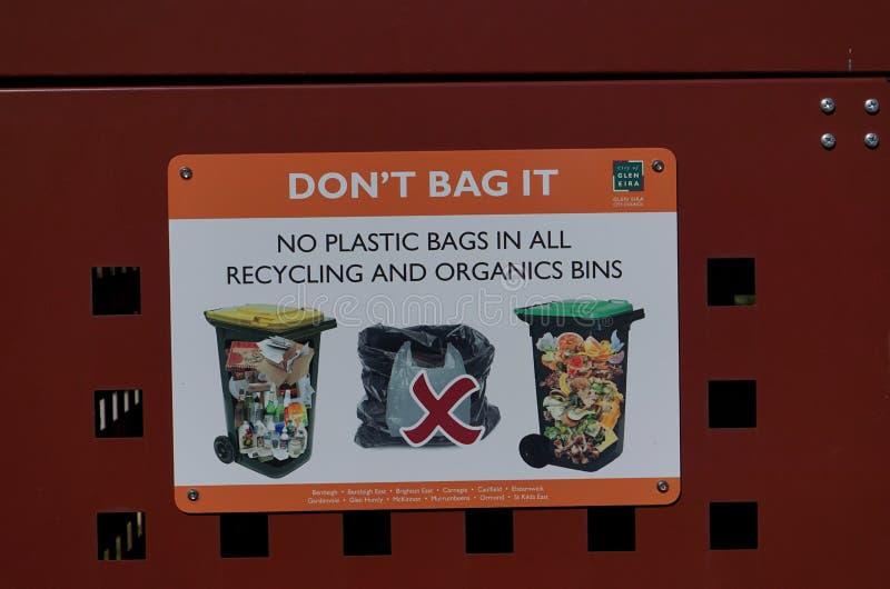 Nessun segno del sacchetto di plastica immagine stock