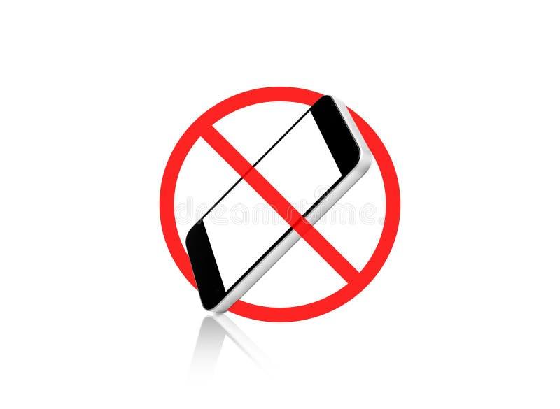 Nessun segno del telefono cellulare, isolato su fondo bianco fotografia stock libera da diritti