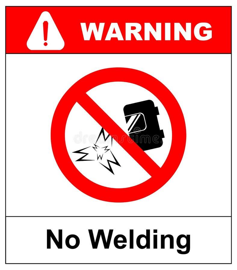 Nessun segno della saldatura Illustrazione di vettore isolata su bianco Icona proibita di saldatura, simbolo severo rosso di sicu illustrazione di stock