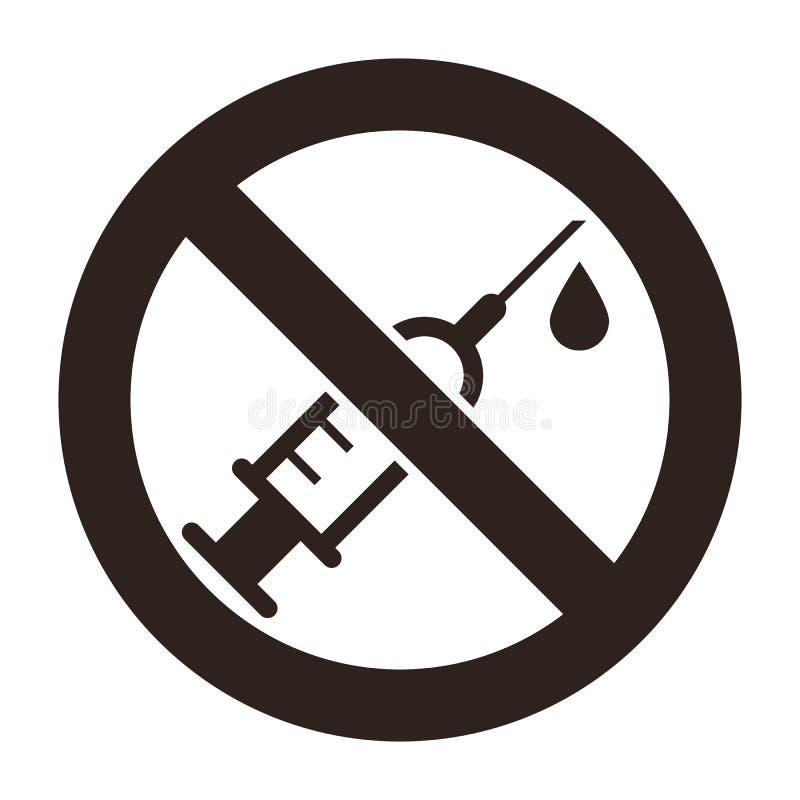 Nessun segno delle droghe Nessun segno della siringa illustrazione di stock