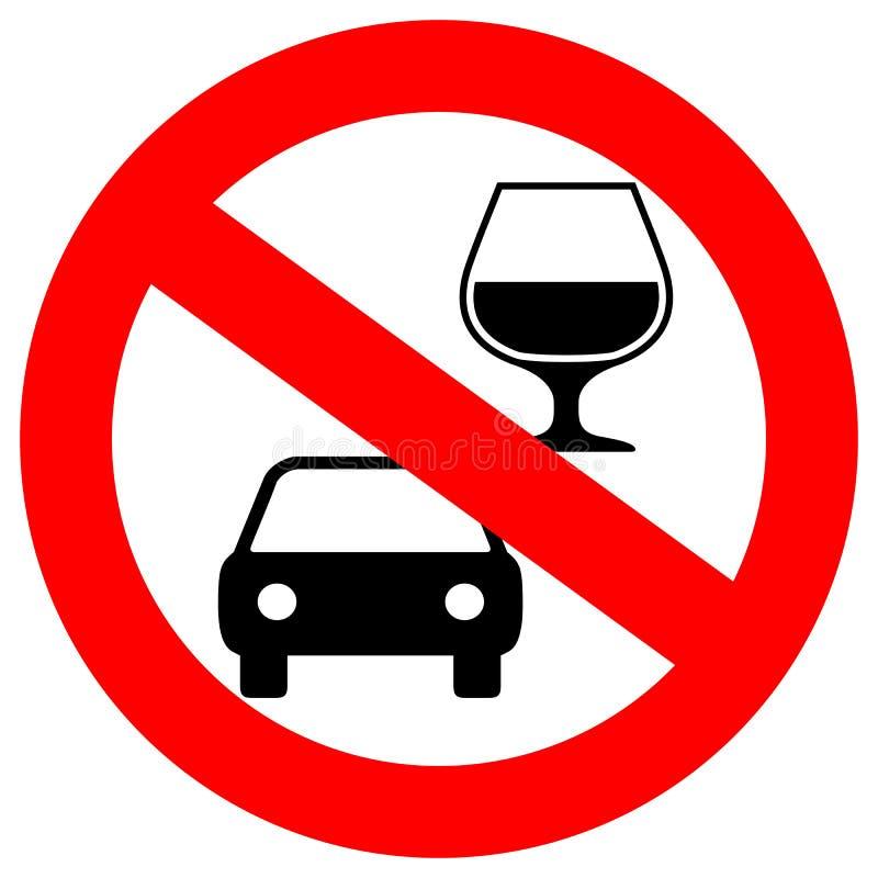 Nessun segno di vettore dell'azionamento e della bevanda illustrazione di stock