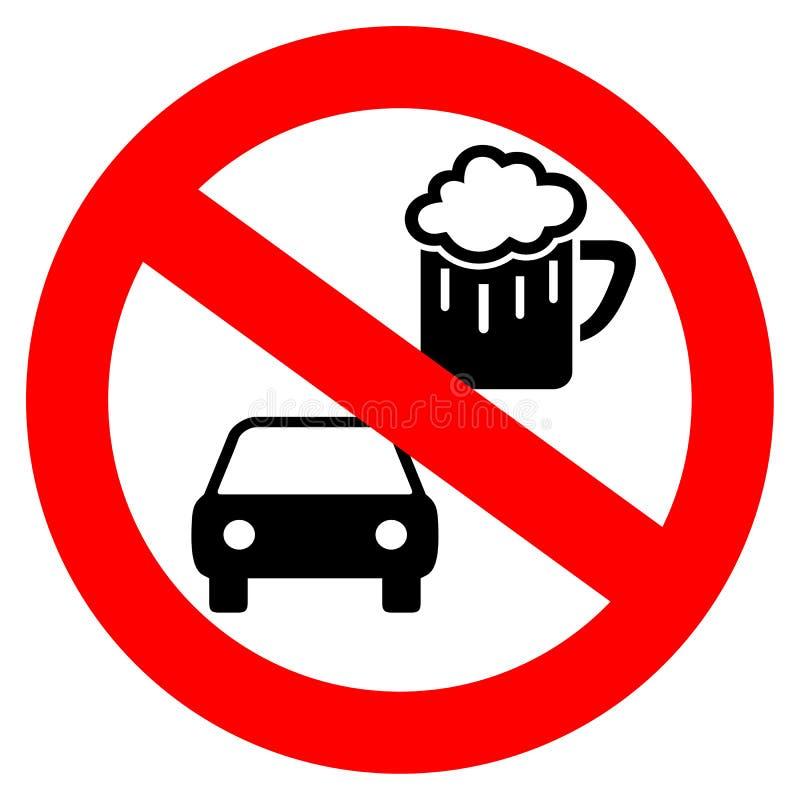Nessun segno di vettore dell'azionamento e della bevanda illustrazione vettoriale