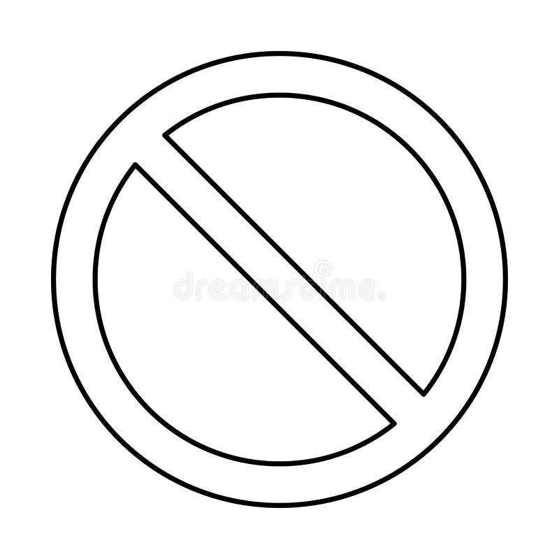 Nessun segno, progettazione di simbolo di proibizione isolato su fondo bianco illustrazione di stock