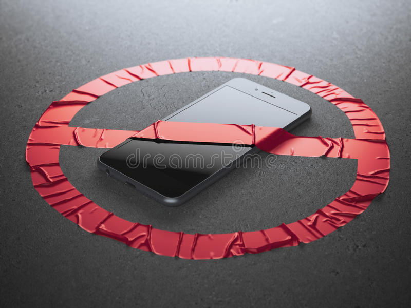 Nessun segno rosso del tessuto del telefono cellulare immagini stock