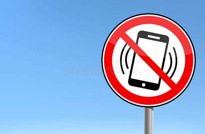 Nessun telefono cellulare - segno severo telefono cellulare illustrazione di stock