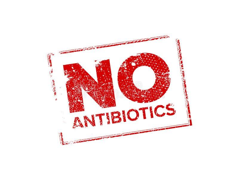 NESSUN timbro di gomma degli antibiotici illustrazione di stock