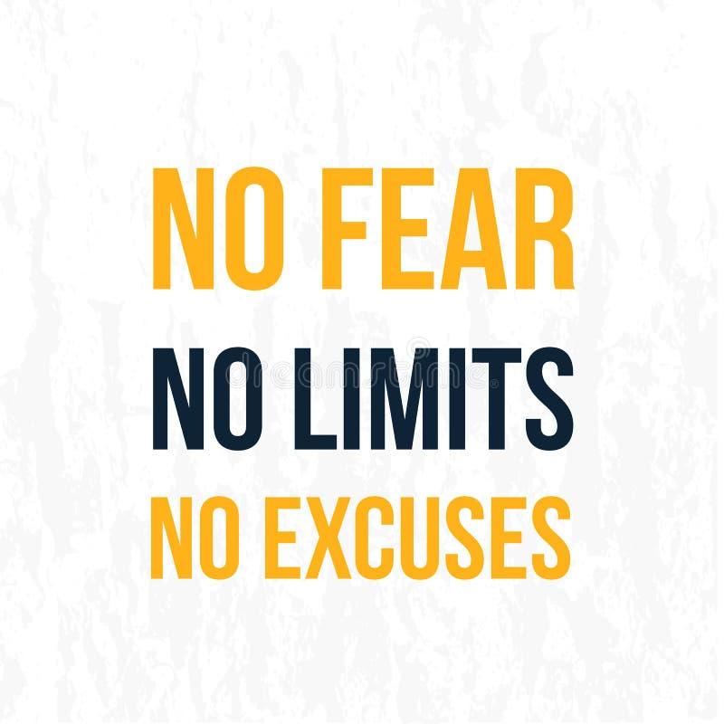 Nessun timore, nessun limiti, nessun fondo del manifesto di giustificazioni Slogan di successo di vettore, carta da parati creati illustrazione vettoriale